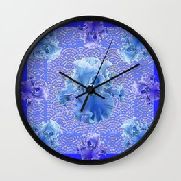 Shades of Blue & Purple Iris Garden Abstract Wall Clock