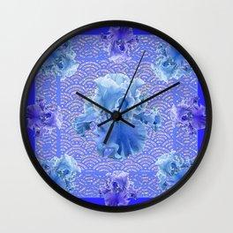 Shades of Blue & Purple Iris Garden Abstract Wall Clock