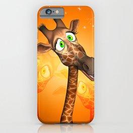 Funny cartoon giraffe iPhone Case