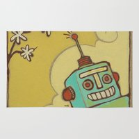 robot Area & Throw Rugs featuring Robot by Willow Dawson