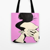 the smiths Tote Bags featuring The Smiths  by Mr Shins