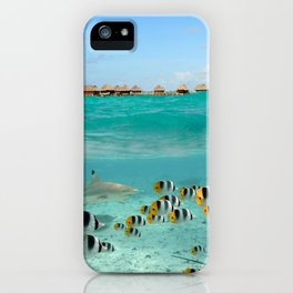 Diving with sharks on Bora Bora iPhone Case