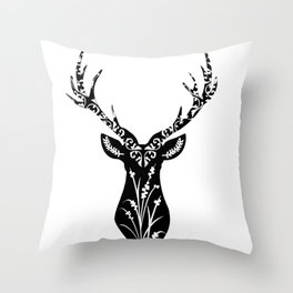 Buck Wild Flower Throw Pillow