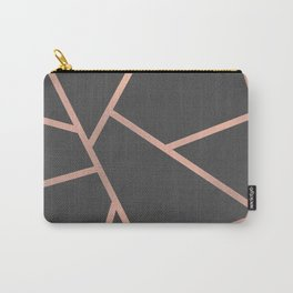 Dark Grey and Rose Gold Textured Fragments - Geometric Design Carry-All Pouch