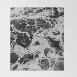 Black and White Waves Throw Blanket