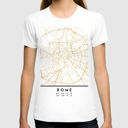 ROME ITALY CITY STREET MAP ART T-shirt