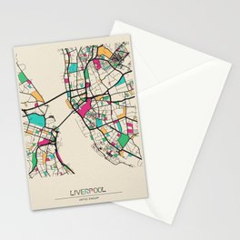 Colorful City Maps: Liverpool, England Stationery Cards