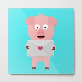 Cute Pig with Loveletter Metal Print