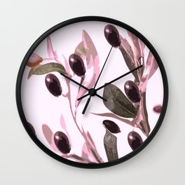 Olive tree branch with pink tones on white background Wall Clock