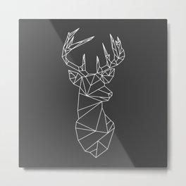 Greometric Stag (White on Grey) Metal Print