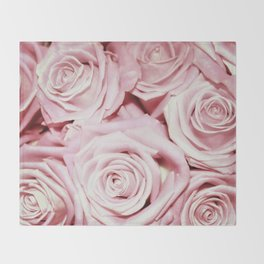 Beautiful bed of pink roses- Floral Rose Flowers Throw Blanket
