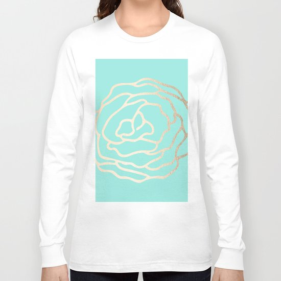 Flower in White Gold Sands on Tropical Sea Blue Long Sleeve T-shirt