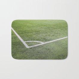 Corner football field, Corner chalk mark artificial grass soccer field Bath Mat