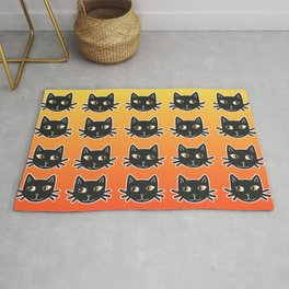 Black Cats Halloween Pattern Rug