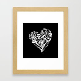 Skeletal Love Heart  (Black) Skulls and Bones Framed Art Print