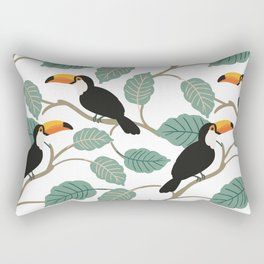 Toucan birds and palm leaves in the jungle Rectangular Pillow