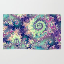 Violet Teal Sea Shells, Abstract Underwater Forest  Rug