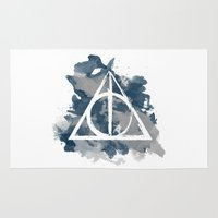 deathly hallows Area & Throw Rugs featuring The Deathly Hallows (Ravenclaw) by FictionTea