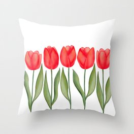 Red Spring Tulips Watercolor Flowers Throw Pillow
