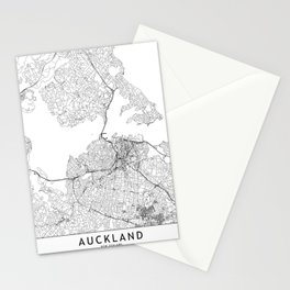 Auckland White Map Stationery Cards