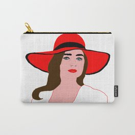 Woman in Red Hat Carry-All Pouch