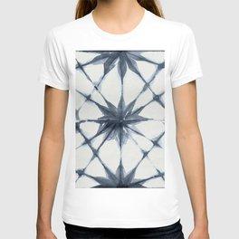 Shibori Starburst Indigo Blue on Lunar Gray T-shirt