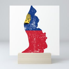 Distressed Liechtenstein Map Mini Art Print