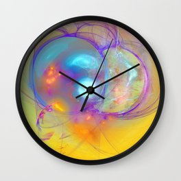 Planetary creation in yellow space Wall Clock