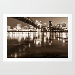 Over the Ohio River - Cincinnati Skyline in Sepia Art Print