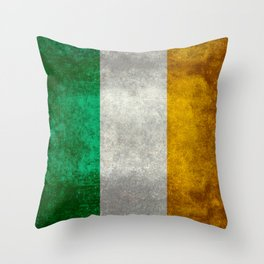 Republic of Ireland Flag, Vintage grungy Throw Pillow