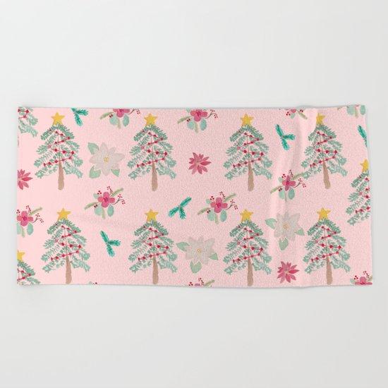Christmas Pattern Pink Beach Towel
