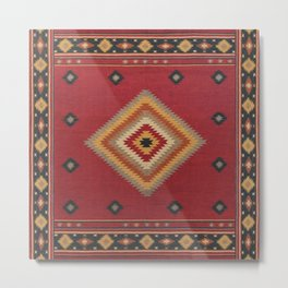 N14 - Red Anthropologie Oriental Moroccan Traditional Artwork. Metal Print