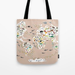 Cartoon animal world map, back to schhool. Animals from all over the world rosybrown background Tote Bag