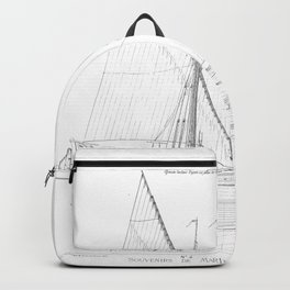 Vintage black & white sailboat blueprint drawing antique nautical beach or lake house preppy decor Backpack