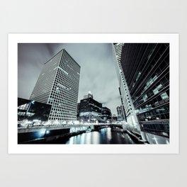 Cityscape River Night Photography Print Chicago Metropolis Art Print