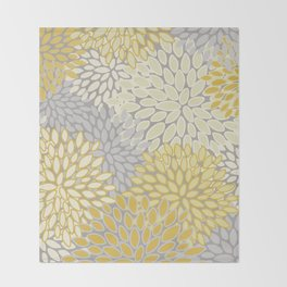 Floral Prints, Soft Yellow and Gray, Modern Print Art Throw Blanket