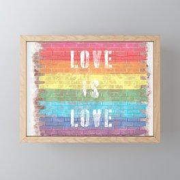 LGBTQ+ Pride Flag Love is Love Style 3 Distressed Brick Design Framed Mini Art Print