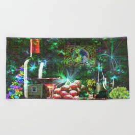 """""""More Wine"""" by surrealpete Beach Towel"""