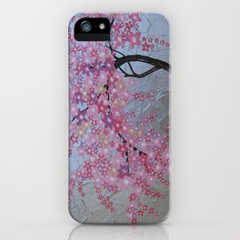 Pink cherry blossom - sakura with silver background iPhone Case