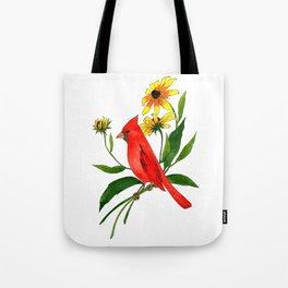 Cardinal and Rudbeckia Tote Bag