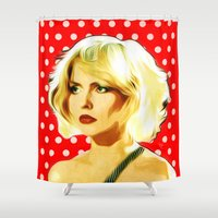 blondie Shower Curtains featuring Blondie - Debbie Harry - Pop Art by William Cuccio aka WCSmack