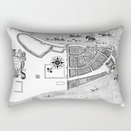 Historical Map of New York City (1664) BW Rectangular Pillow