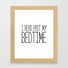 I read past my bedtime - Black and white (inverted) Framed Art Print