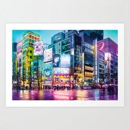 Akihabara Neon Dream Wet Streets Art Print
