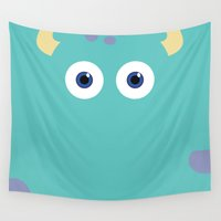 pixar Wall Tapestries featuring PIXAR CHARACTER POSTER - Sulley 2- Monsters, Inc. by Marco Calignano