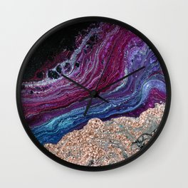 Violet fire agate - rose gold glitter Wall Clock