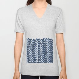 Half Knit Navy Unisex V-Neck