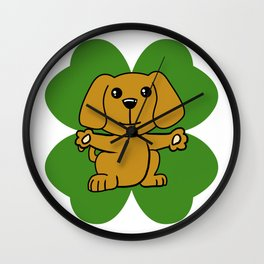 Dog On Four Leaf Clover- St. Patricks Day Funny Wall Clock