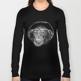 monkey music - scimmia musica - musique de singe - música mono Long Sleeve T-shirt