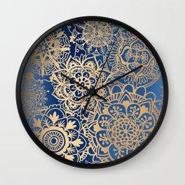 Blue and Gold Mandala Pattern Wall Clock